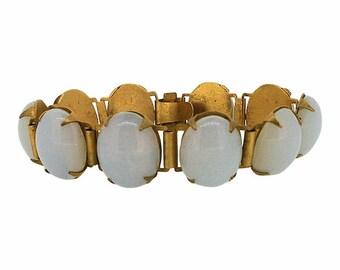 1930s Opaline Glass Cabochon Vintage Bracelet