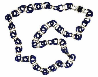 Archimede Seguso for Chanel 1970s Blue Glass and Faux Pearl Vintage Necklace