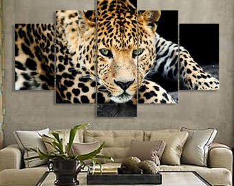 5 Panels Cheetah Canvas Art Multi Grouped Art Work