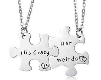 Puzzle Piece Necklace, Relationship Necklace, Matching Necklaces, Boyfriend Girlfriend Necklace, Marriage Gifts, Matching Couple Necklaces,