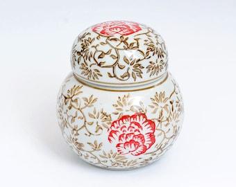 Chinese Ginger Jar, Vintage Orinetal Jar, Ginger jar, Oriental jar, porcelain ginger jar, hand painted Chinese jar, Christmas gift