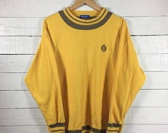 On sale 20% Rare!! MUNSINGWEAR Sweatshirt Crewneck Small Logo Yellow Colour Large Size