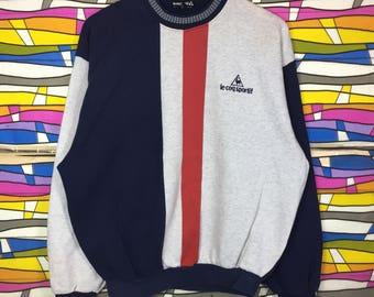 Rare!! Vintage LE COQ SPORTIF Spellout Small Logo Sweatshirt
