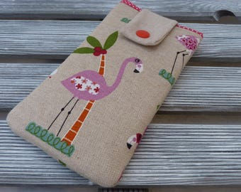 Cute phone pouch, Phone sleeve, Flamingo pouch, Padded phone case, Fabric phone case, Cell phone cover, gift for her, sister birthday gift