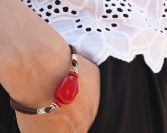 Bracelet with coral  Leather bracelet with coral Beaded bracelet Coral bracelet