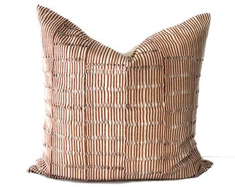 Osan - Cream and Copper Striped Vintage African Cloth Aso-Oke Pillow, High Quality Italian Linen Back Fabric, Mud Cloth Style