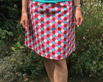 Cotton A Line Skirt - 'RASPBERRY CIRCLES'