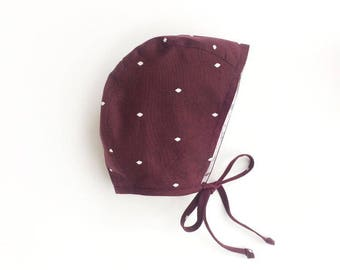 Reversible Burgundy/floral Cotton Baby Bonnet with diamonds For girl