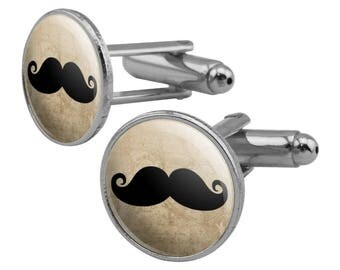 Curly Mustache Round Cufflink Set Silver Color