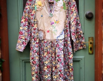 Upcycled Recycled Reclaimed Floral Cotton Smock Dress Vintage Linens Doilies