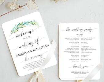 fan programs for wedding fan program template greenery