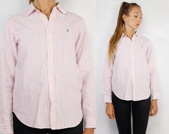 RALPH LAUREN Shirt / Polo Ralph Lauren / Button up Polo / Striped Shirt Women / Striped Shirt Vintage / Ralph Lauren Vintage / YUMMY Vintage