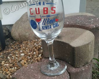 Cubs and wine girl wine glass/ custom wine glass/ baseball gift