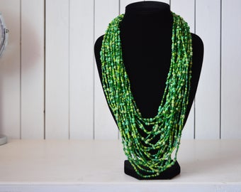 African Maasai Beaded Necklace | African Jewelry | Tribal Necklace | Chunky |  Mixed Green Necklace | One size fits all | Gift for Her
