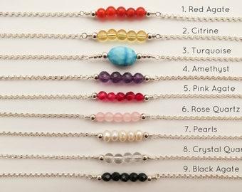 Gemstone Bracelet, Beaded Bracelet, Bar Bracelet, Birthstone Bracelet, Boho Bracelet, Dainty Bracelet, Minimal Bracelet, Gift Under 50