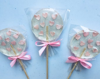 Set of 3 Pink heart sugar lollipop, girl baby shower, first birthday party, wedding favor, gift for guests, barbie pink sweet foodie gift