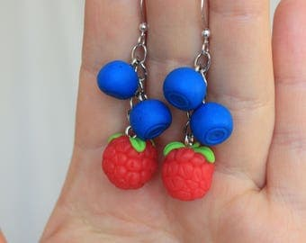 SALE Raspberry Blueberry Earrings Handmade from Polymer Clay Gift For Her Birthday Mother Day