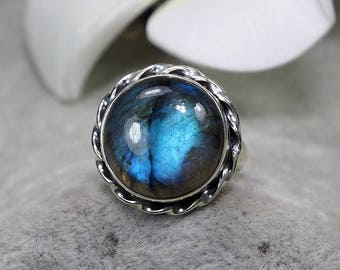 Natural Top Quality Blue Fire Labradorite Vintage 925 Sterling Silver Ring, Genuine Ring, Birthday and holiday Gift, US Size 5 ,J421