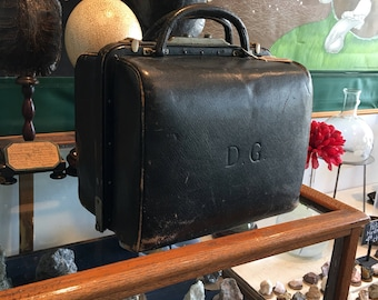 Antique rare unconventional black leather doctor bag