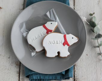 Six Personalised Polar Bear Biscuit Gift Set - Christmas Cookie - Christmas Gifts for Kids - Stocking Fillers - Xmas Foodie Gifts