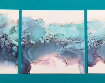 Calm Teal Triptych Alcohol Ink Painting