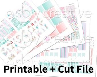 Glitter Winter Wonderland - Weekly Sticker Kit Printable for Erin Condren Horizontal - HWK-049 - INSTANT DOWNLOAD