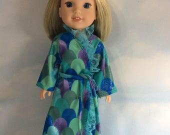 "Sparkling soft fleece like polyester bathrobe fits 14.5"" Wellie Wishes doll"