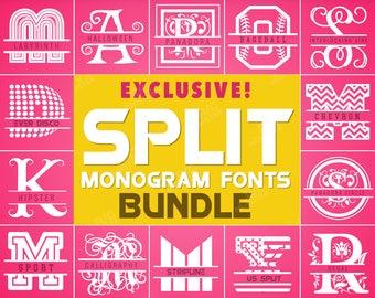 SPLIT Monogram FONT BUNDLE svg cricut fonts svg files bundle fonts svg Split letters svg split font svg split sport font svg 136
