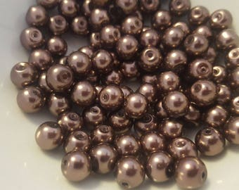Perle 100 glass 8mm Brown round dia.