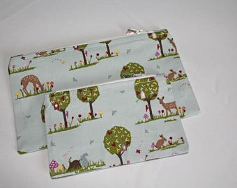 Cute Woodland Forest Zipped Pouch Set