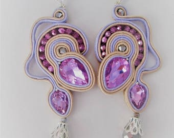 soutache earrings lavender  jewels, Soutache Jewerly, fashion, Soutache Jewels, accessories, cabochon, crystals, beads, handmade from Italy