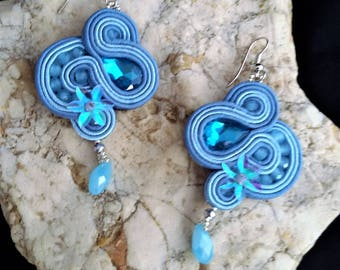 soutache earrings jewels, Soutache Jewerly,fashion, Soutache Jewels, accessories, cabochon, crystals, beads, handmade from Italy