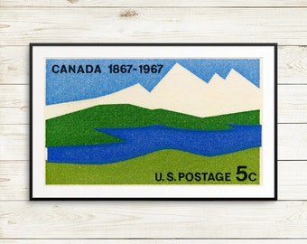 Fine art prints: Canada Centennial, USA postage, postage stamps, mountain art, river art, US postage, postage stamp art, 1960s Canadiana