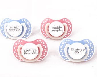DDLG Adult baby pacifier. ABDL pacifier with custom quotes. Glow in the dark adult dummy in baby pink or baby blue and white - nuk 3