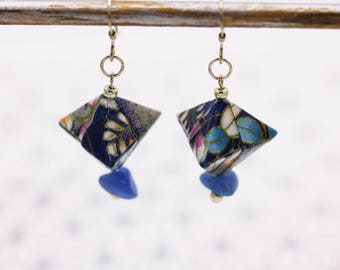 Aventurine and Silver Blue Japanese origami earrings