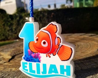 Nemo Cake Candle, Personalized Birthday Candle,