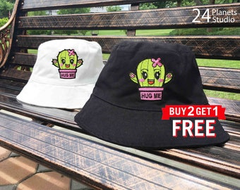 Cactus Hug Me - Pink Embroidered Bucket Hat by 24PlanetsStudio