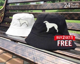Borzoi Dog Embroidered Bucket Hat by 24PlanetsStudio