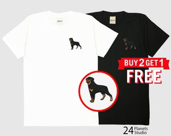 Rottweiler Dog Embroidered T-Shirt by 24PlanetsStudio
