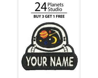 "Astronaut ""Your Name"" Iron on Patch by 24PlanetsStudio Your Text Custom Made DIY"