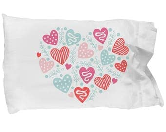 Hearts and Love Gift Pillowcase Bedding Bedroom Decor Valentine's Day Birthday Bridal Shower Wedding Engagement