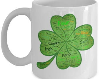 Four Leaf Clover St. Patrick's Day Celebration 11oz Coffee Lover Mug Irish Good Luck Leprechauns Sprites Fairies