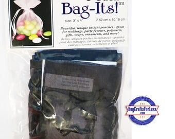 "Sheer Organza Bag-its, 72 pcs 3"" x 4"", black +FREE SHIPPING & Discounts*"