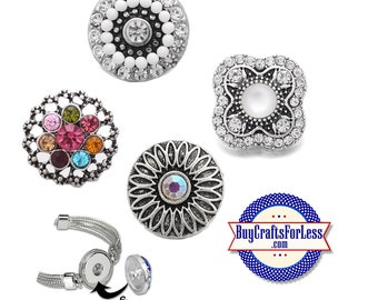 SNAP RHiNESTONE Buttons, Beautiful, 18mm INTERCHaNGABLE Buttons,NeW designs +FREE Shipping & Discounts