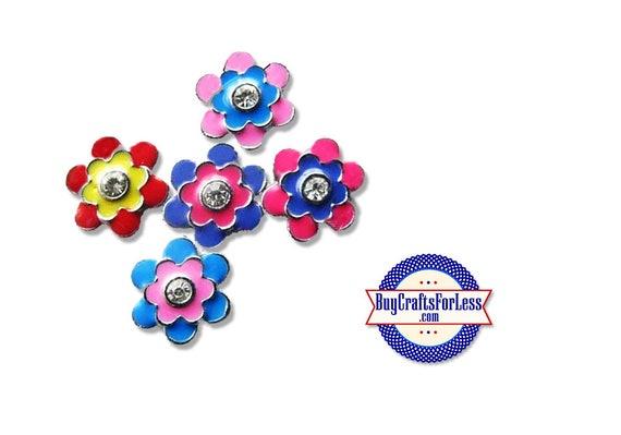 FLOWER CHARMS for Slide Bracelets, Collars, Key Rings, Napkin Rings, 5 Colors +FREE Shipping & Discounts*
