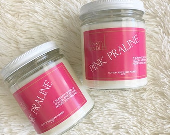 Pink praline, Candles, Candle, Scented Candle, Dessert Candles, Soy Candles, Home fragrance, gift, Cotton Candy. Dye free, Mason Jar