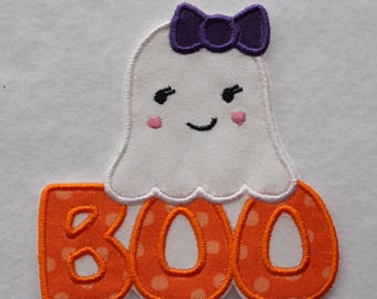 Ghost Patch, Girl Ghost Patch, Boo Patch, Halloween Patch, Halloween Ghost, Ghost Embroidery, Ghost Appliqué, Cute Ghost Patch, Embroidery