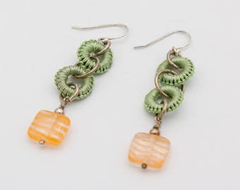Crochet Circles and Orange Art Glass Earrings