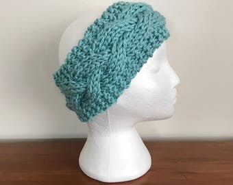 Teal Cabled Knit Headband - Knit Adult Earwarmer - Girls Headband - Cable Headband - Chunky Cable Headband - Teal Knit Headband