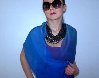 ombre blue scarf - purple, 100% silk
